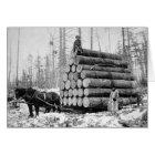 Hauling a Load of Logs, 1908 Card