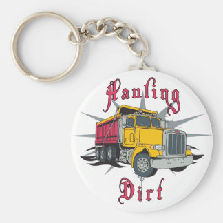 Hauling Dirt Dump Truck Basic Round Button Key Ring