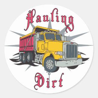 Hauling Dirt Dump Truck Round Sticker