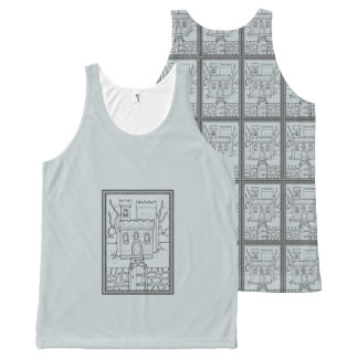 Haunted Castle Black Line Art Design All-Over Print Tank Top