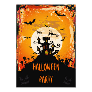 Haunted Castle Halloween Party 13 Cm X 18 Cm Invitation Card