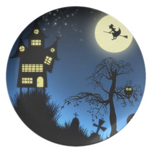 Haunted Grave Yard Halloween Party Dinner Plates