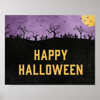 Haunted Graveyard Happy Halloween Art Print