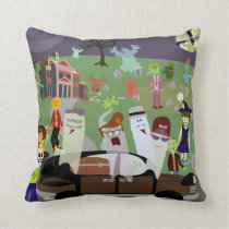Haunted Halloween Graveyard Party Cushion