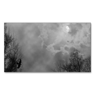 Haunted Halloween Sky with Ravens Magnetic Business Card