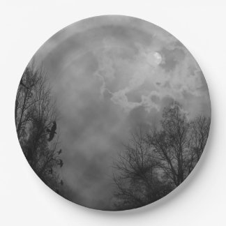 Haunted Halloween Sky with Ravens Paper Plate
