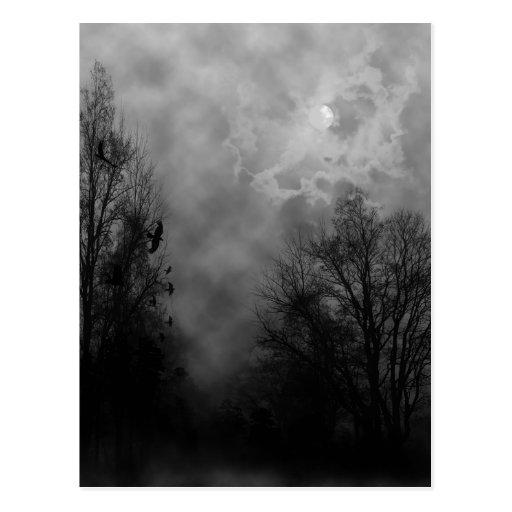 Haunted Halloween Sky with Ravens Postcard Postcard