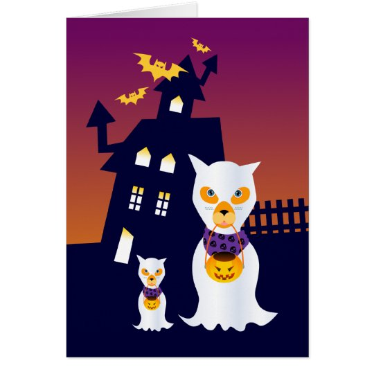 Haunted House and Halloween dog ghosts Card
