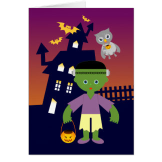 Haunted House and Halloween witch and Frankenstein Card