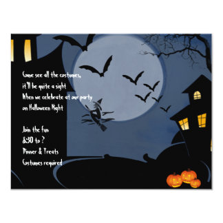 Haunted House and Witch Under a Blue Moon 11 Cm X 14 Cm Invitation Card