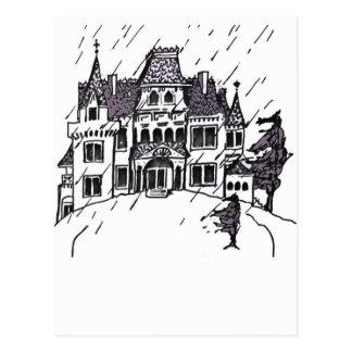 Haunted House B & W Sketch Postcard