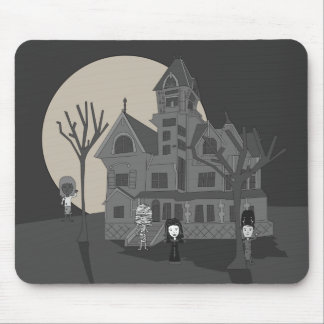Haunted House Cartoon Mouse Pad