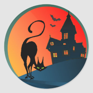 HAUNTED HOUSE CAT by SHARON SHARPE Round Sticker