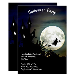 Haunted House, Full Moon, Witch Halloween Party Card