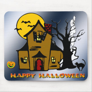 Haunted House Ghost Cat Mouse Pad