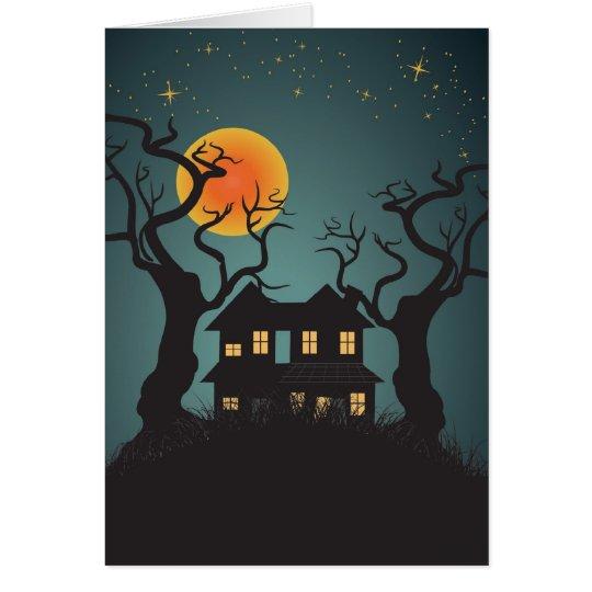 Haunted House Halloween Greeting Card