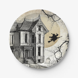 Haunted House Halloween Paper Plate