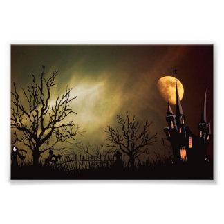 Haunted House Halloween Scene Photograph