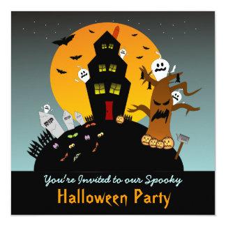 """Haunted House Halloween Square Invitation 5.25"""" Square Invitation Card"""