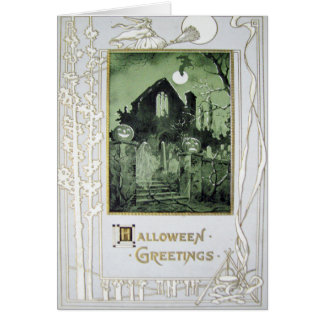 Haunted House Jack O' Lantern Ghost Bat Greeting Card