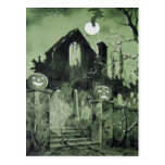 Haunted House Jack O' Lantern Ghost Bat Postcard