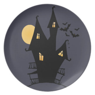 Haunted House Kids Halloween Plate