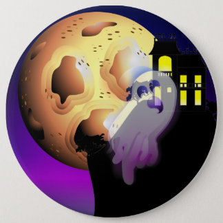 Haunted House, Moon and Ghost 6 Cm Round Badge