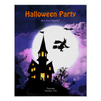 Haunted House Scary Halloween Party Posters
