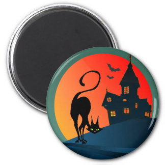 HAUNTED HOUSE, SPIDER, WEB & CAT by SHARON SHARPE Magnet