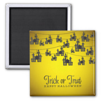 Haunted house string square magnet