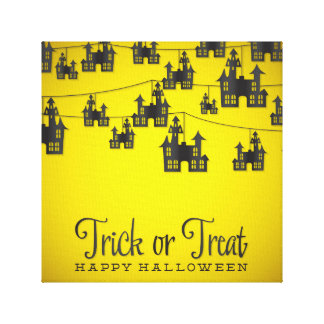 Haunted house string stretched canvas prints