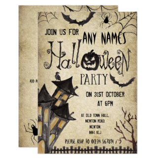 Haunted House Vintage Halloween Party Invitations