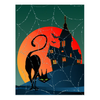 HAUNTED HOUSE, WEB & CAT by SHARON SHARPE Postcard