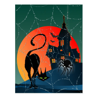 HAUNTED HOUSE WEB CAT by SHARON SHARPE Postcard
