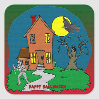 Haunted House, Witch and Mummy Sticker Square Sticker