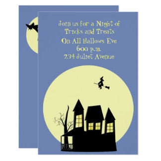 Haunted House Witch Inviation Card