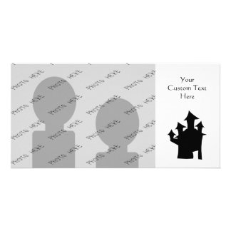 Haunted House with Four Towers Black and White Photo Card