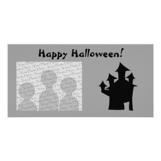Haunted House with Four Towers. Personalized Photo Card