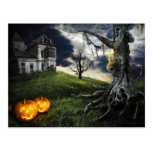 Haunted House with Jack O Lanterns On Halloween Post Card