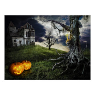 Haunted House with Jack O Lanterns On Halloween Poster