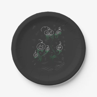 Haunted Pumpkin Vines Paper Plate