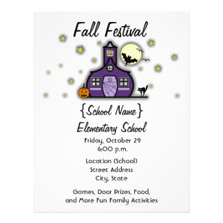 Haunted Schoolhouse School Halloween Fall Festival Flyer