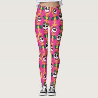 Haunted Skulls Pink Leggings