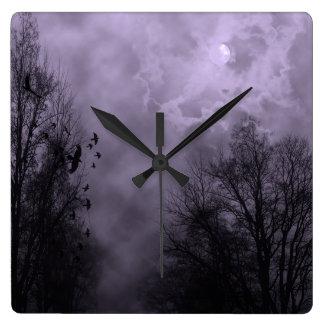 Haunted Sky Purple Mist Wall Clock