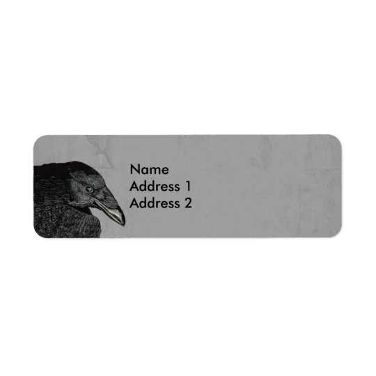 Haunting Black Crow Face Grey Return Address Label