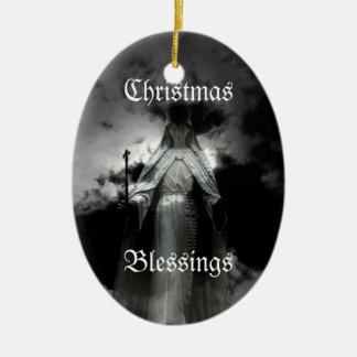 Hauntingly beautiful blessed virgin Mary ornament