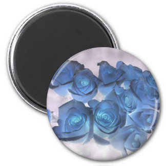 Hauntingly beautiful blue tinged roses 6 cm round magnet