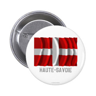 Haute-Savoie waving flag with name 6 Cm Round Badge