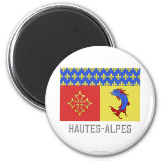 Hautes-Alpes flag with name 6 Cm Round Magnet