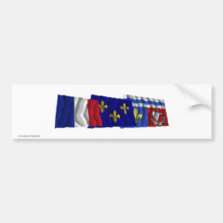 Hauts-de-Seine, Île-de-France & France flags Bumper Sticker